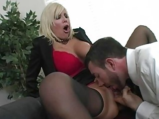 amazing blonde lady with big breast getting kitty