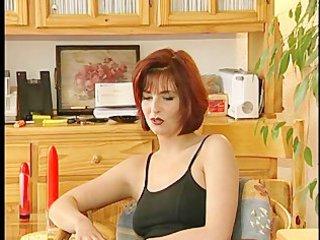 beautiful babe masturbates during interview