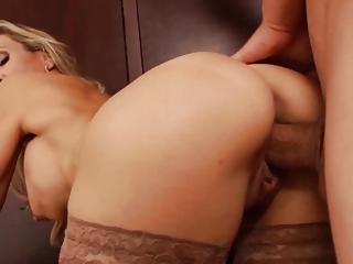 hot blond woman professor demonstrates rough shape