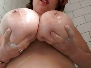 chubby busty furry lady in the bath