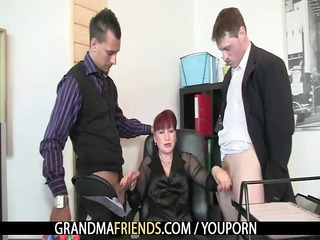 cougar agency bitch enjoys two dicks
