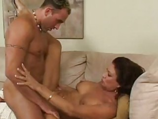 brunette grown-up lady with big natural tits gets