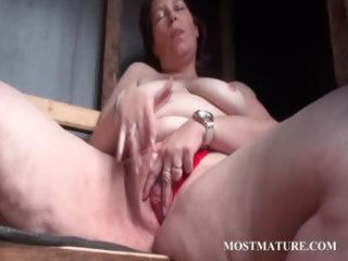 public slut masturbation with older