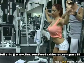 sexy red-haired chick at the gym