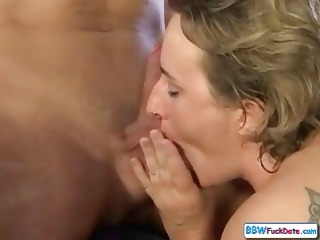 plump older hungarian blonde babe sucks cock in