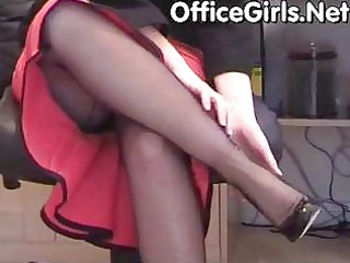 large tits girl associate in dark pantyhose hand
