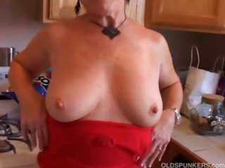 enormously sexy grandma has a soaking wet cave